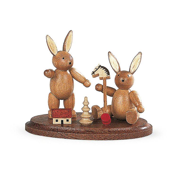 2 spielende Hasenkinder  -  4cm