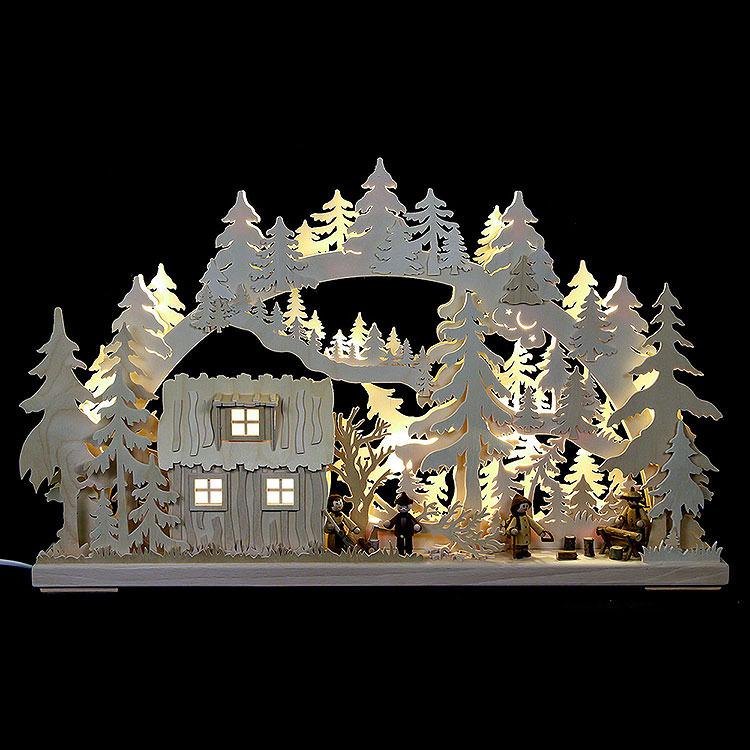 3D - Schwibbogen Blockhütte mit Waldarbeitern  -  62x38x8cm