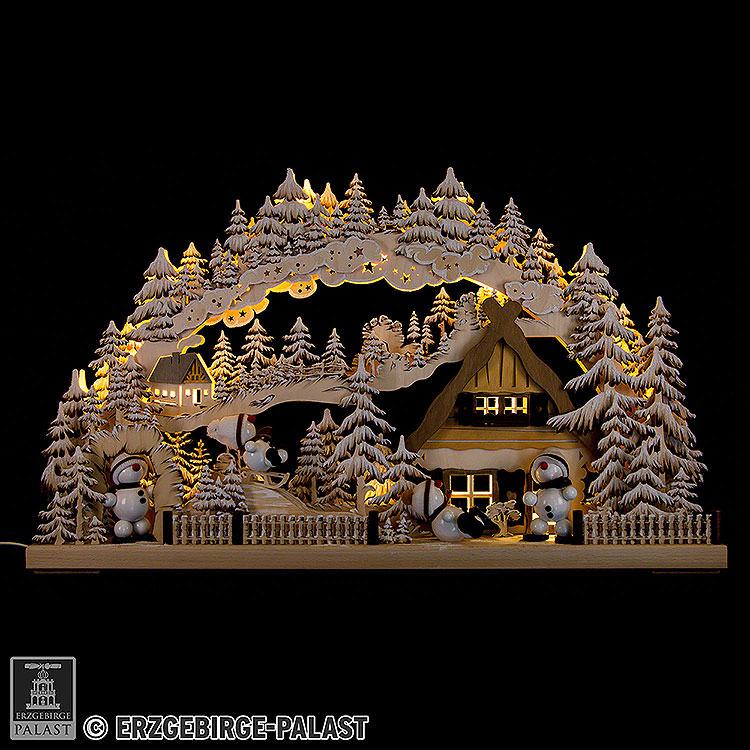 3D - Schwibbogen Snowmolli - Paradies mit Raureif  -  72x43cm