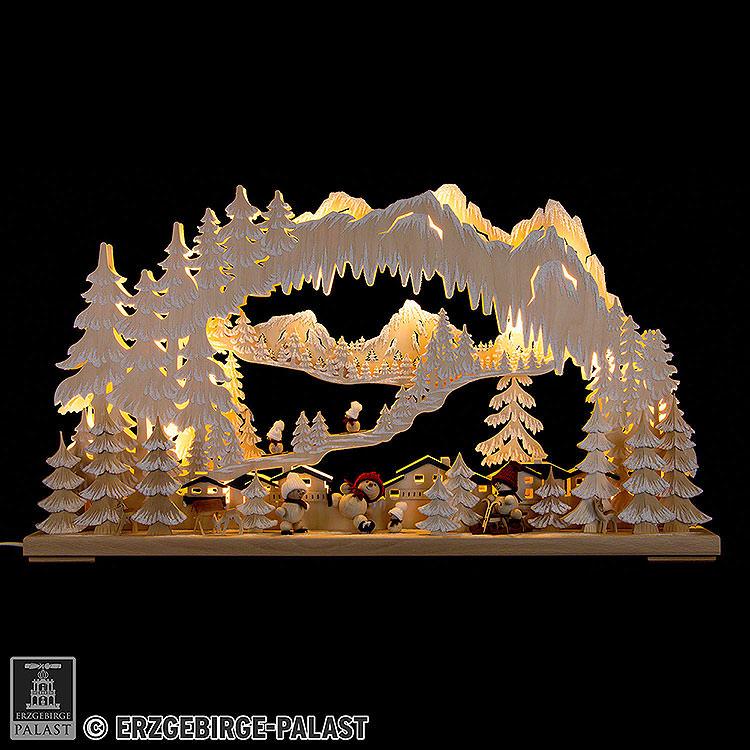 3D - Schwibbogen Wintersport mit Snowmollis und Raureif  -  72x43cm