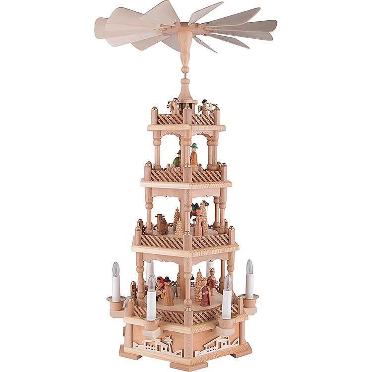 4 - stöckige Pyramide Christi Geburt, natur, elektrisch  -  61cm