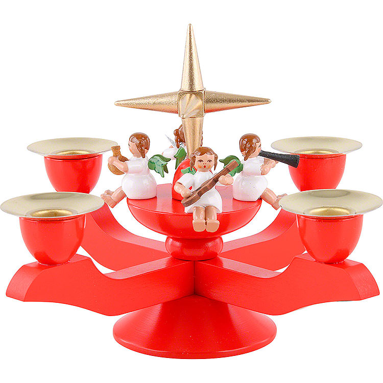 Advent Candle Holder  -  Red  -  12cm / 5 inch