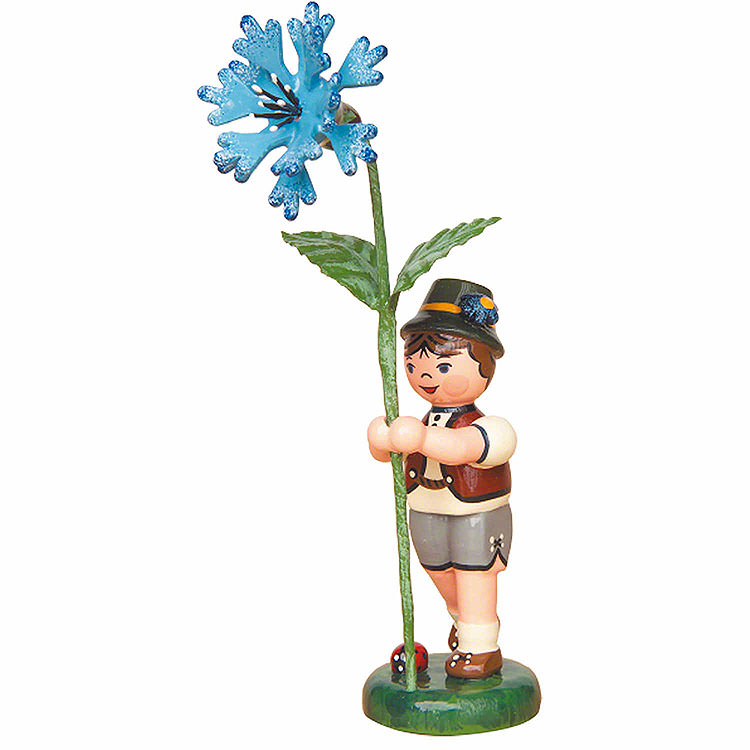 Blumenkind Junge mit Kornblume  -  11cm