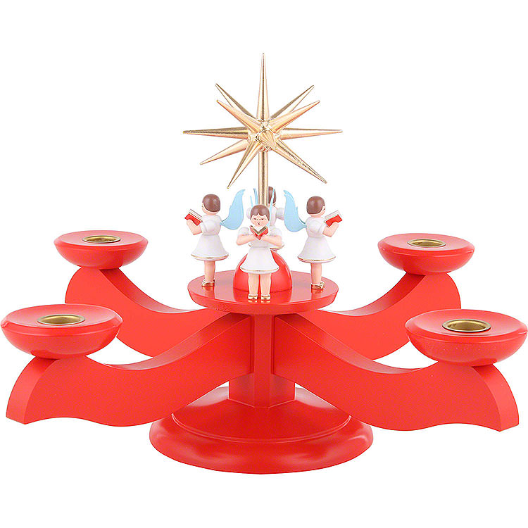 Candle Holder  -  Advent Red  -  29x29x26cm / 11.4x11.4x10.2 inch