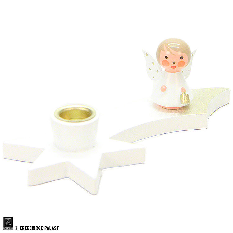 Candle Holder  -  Angel on Comet  -  White  -  3cm / 1.2 inch