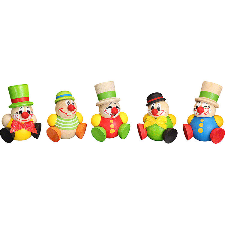Christbaumschmuck Clowny  -  5 - tlg.  -  4cm