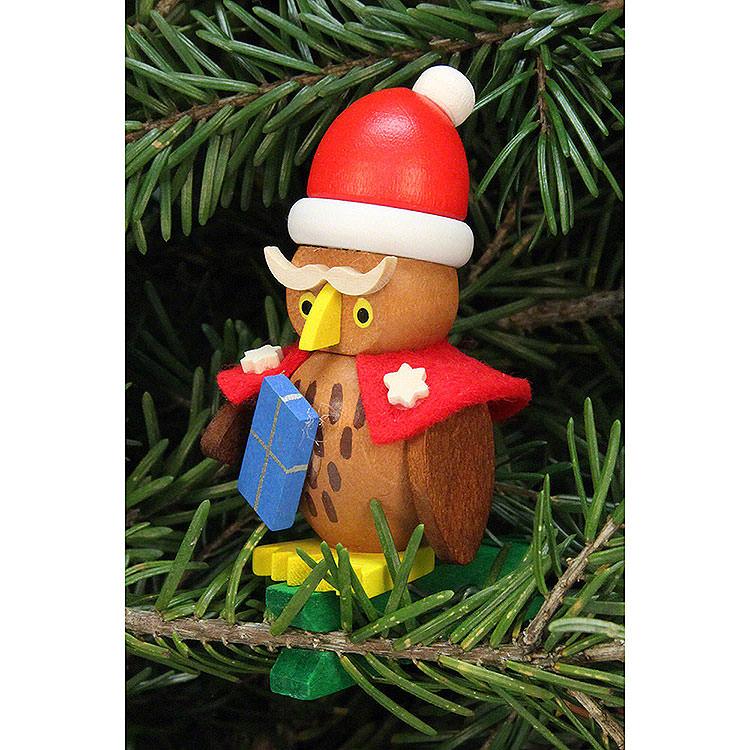 Christbaumschmuck Eule Weihnachtsmann auf Klammer  -  4,8x7,3cm