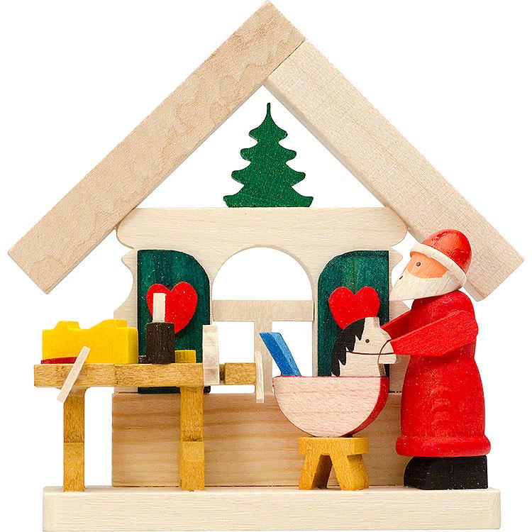 Christbaumschmuck Haus Weihnachtsmann mit Werkstatt  -  7,5cm
