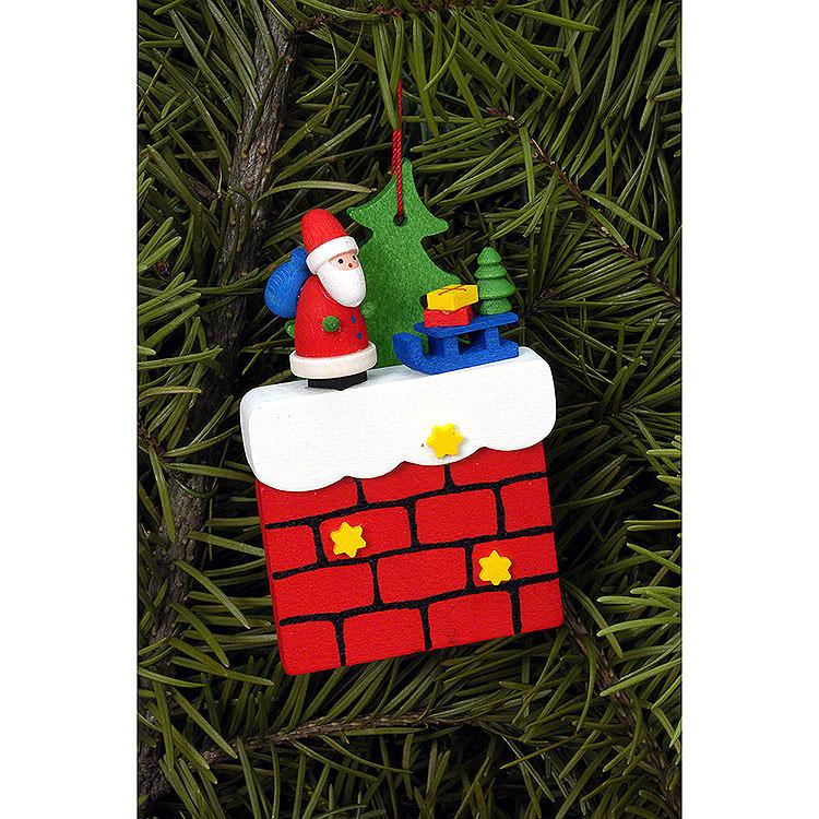 Christbaumschmuck Kamin mit Weihnachtsmann  -  4,8x7,6cm