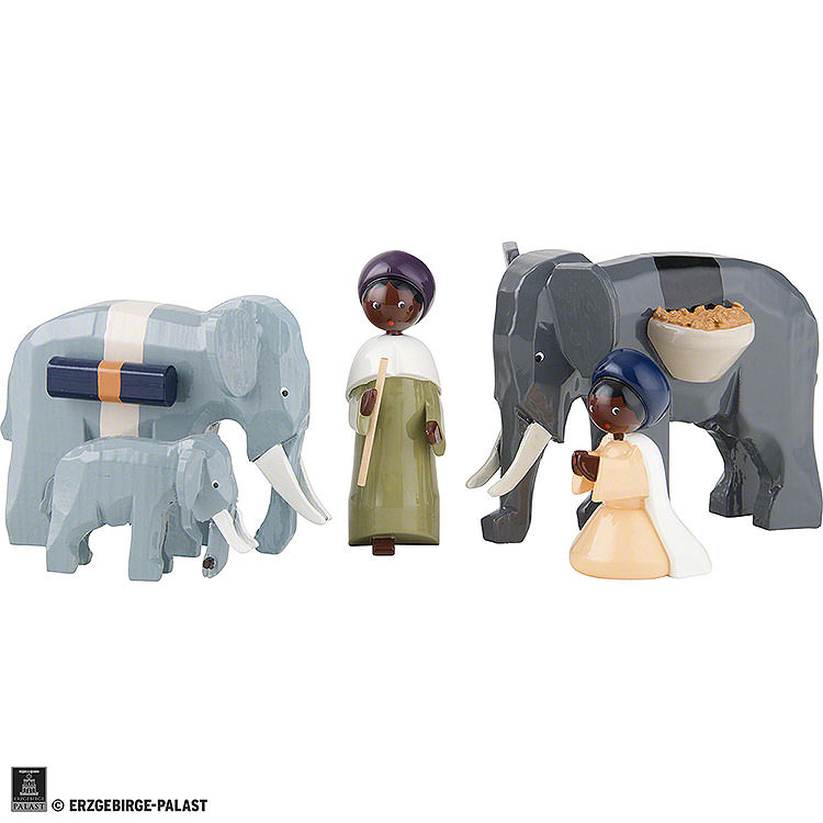 Elephant Herder, Set of Five, Colored  -  7cm / 2.8 inch