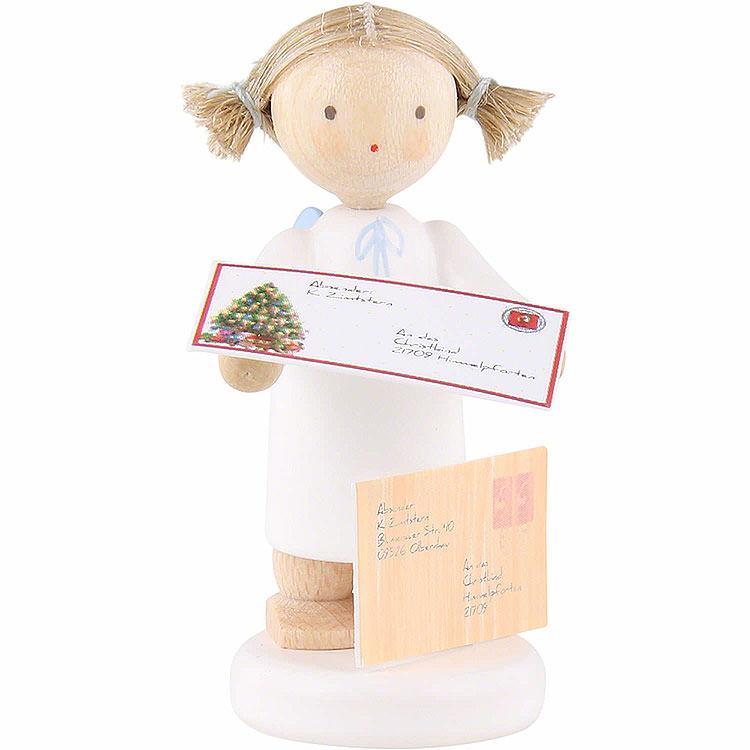 Flachshaarengel mit Brief an das Christkind  -  5cm