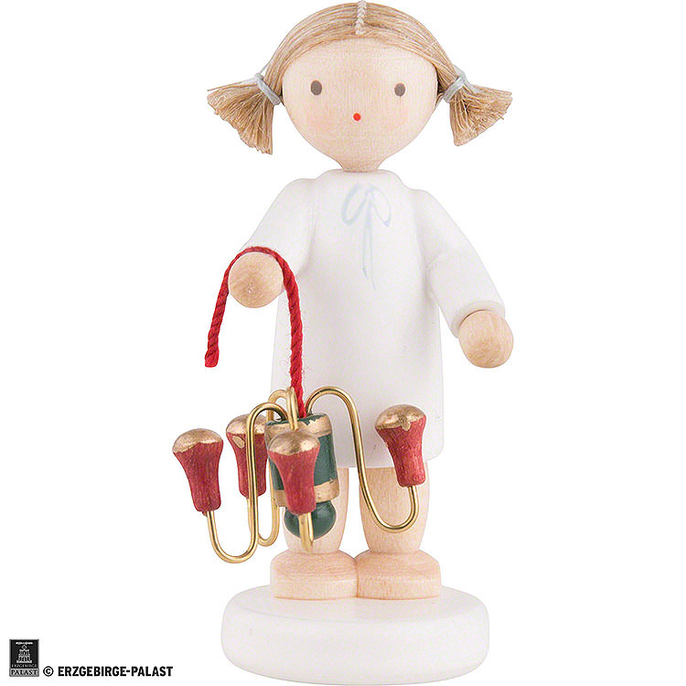 Flax Haired Angel with Candle Holder  -  5cm / 2 inch