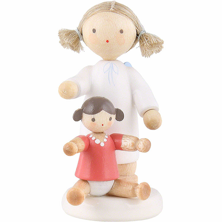 Flax Haired Angel with Doll  -  5cm / 2 inch