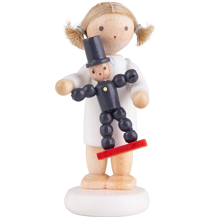 Flax Haired Angel with Plum Man  -  5cm / 2 inch