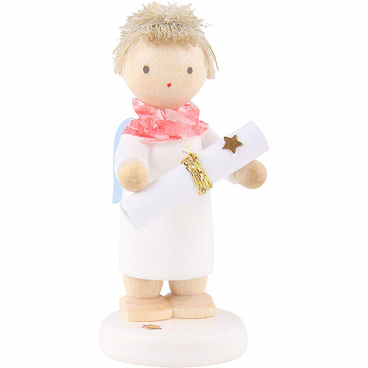 """Flax Haired Angel with Poem Roll (Poem """"Flax Haired Angel"""" included)  -  5cm / 2 inch"""