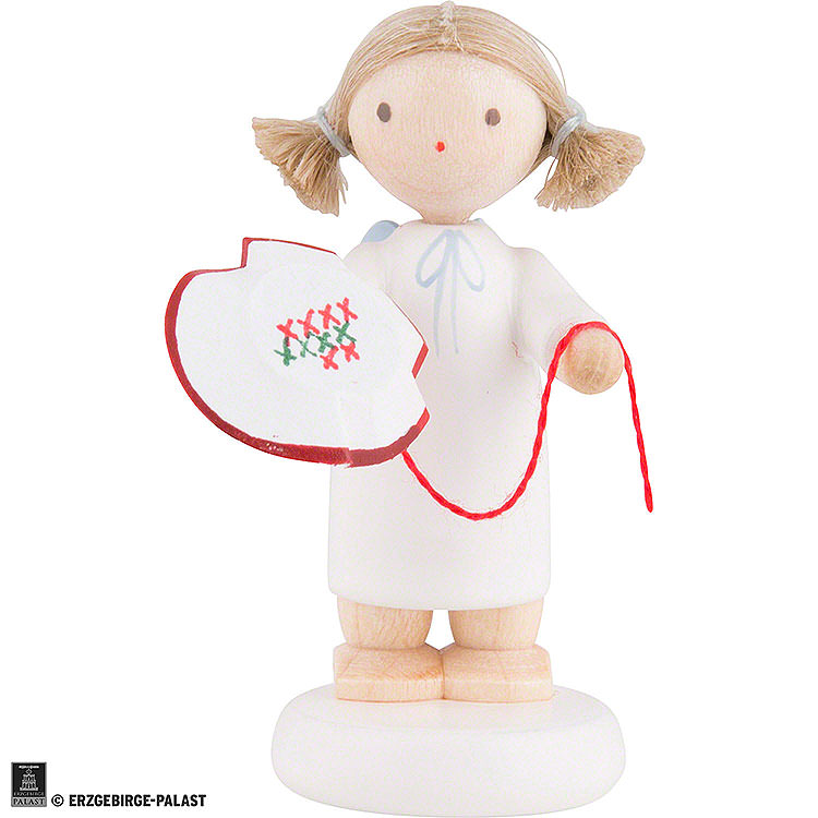 Flax Haired Angel with Tambour Frame  -  5cm / 2 inch