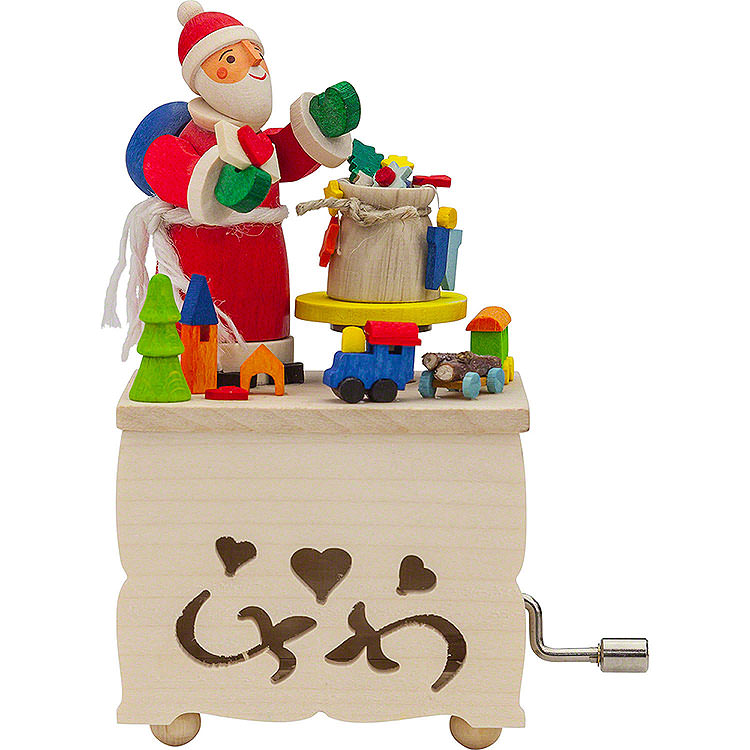 Hand Crank Music Box Santa Claus  -  10cm / 3.9 inch