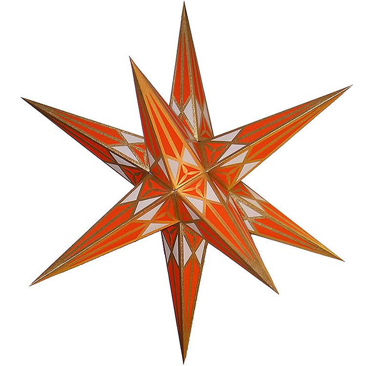 Hartensteiner Weihnachtsstern für Innen  -  weiß - orange mit gold  -  68cm