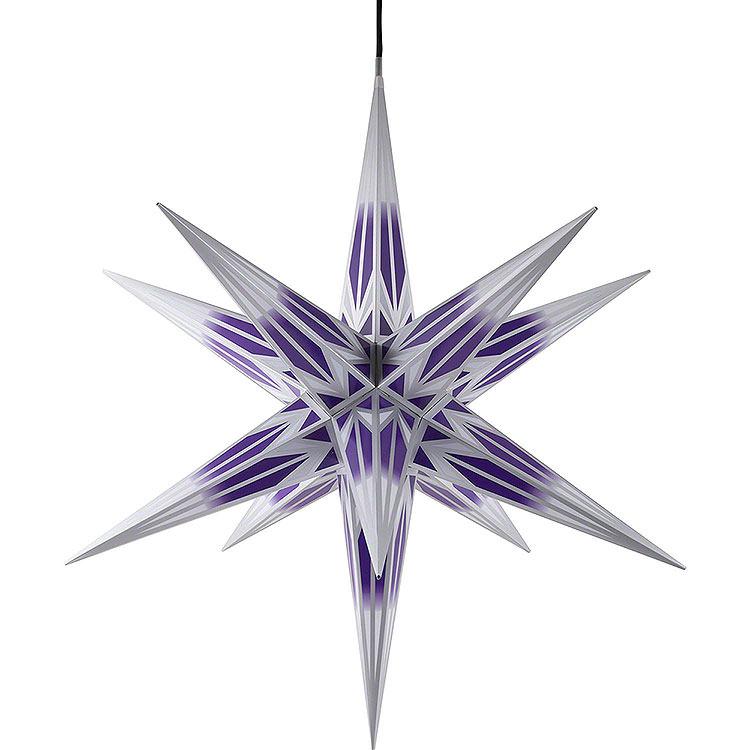 Haßlauer Weihnachtsstern für Innen und Außen lila/weiß mit Silbermuster inkl. Beleuchtung  -  75cm