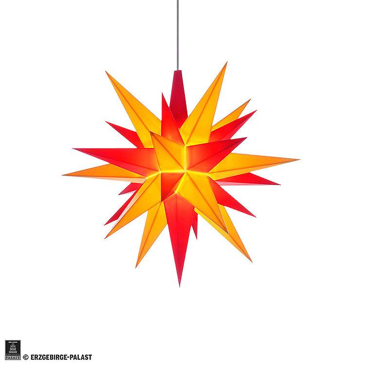 Herrnhuter Stern A1e gelb/rot Kunststoff  -  13cm