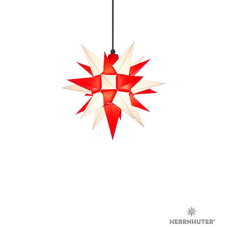 Herrnhuter Stern A4 weiss/rot Kunststoff  -  40cm