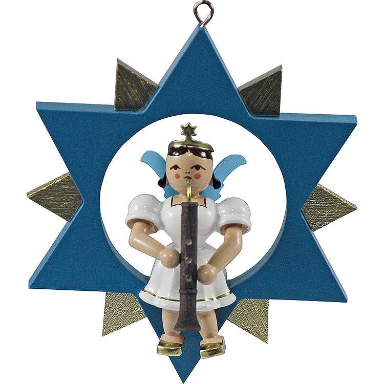 Kurzrockengel mit Oboe im Stern, farbig  -  9cm