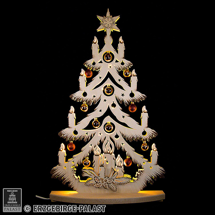 Lichterspitze Tanne mit goldenen/kupfernen Baumkugeln  -  72x38cm