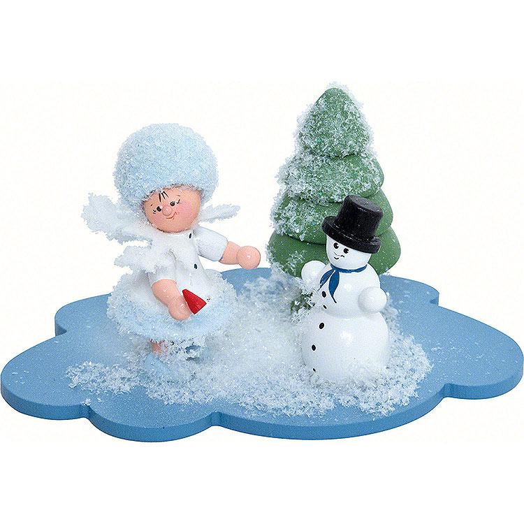Schneeflöckchen mit Schneemann  -  10x7x6cm