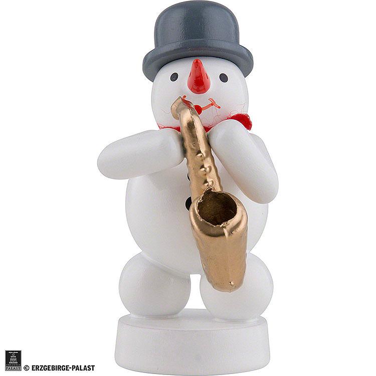 Schneemann Musikant mit Saxophon  -  8cm