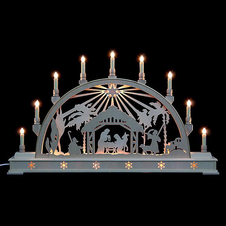 Schwibbogen Christi Geburt mit Stern und Sockel  -  78cmx45cm