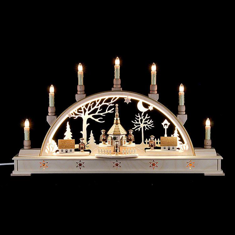 Schwibbogen 'Seiffener Dorf und Kurrende' mit LED - Innenbeleuchtung  -  63x35cm