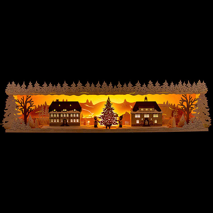 Schwibbogenerhöhung Seiffener Dorf verschneit  -  75x20cm