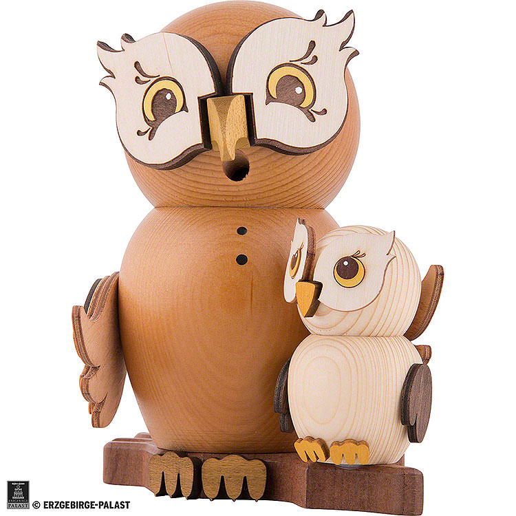 Smoker  -  Owl with Child  -  15cm / 5.9 inch
