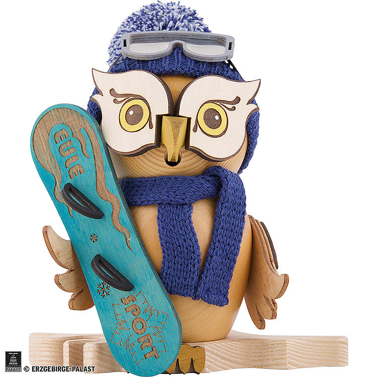 Smoker  -  Owl with Snow Board  -  15cm / 5.9 inch