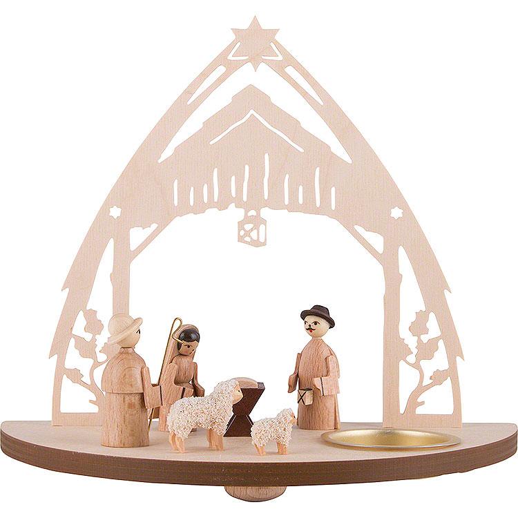 Teelichtleuchter Christgeburt mit Figuren  -  16cm