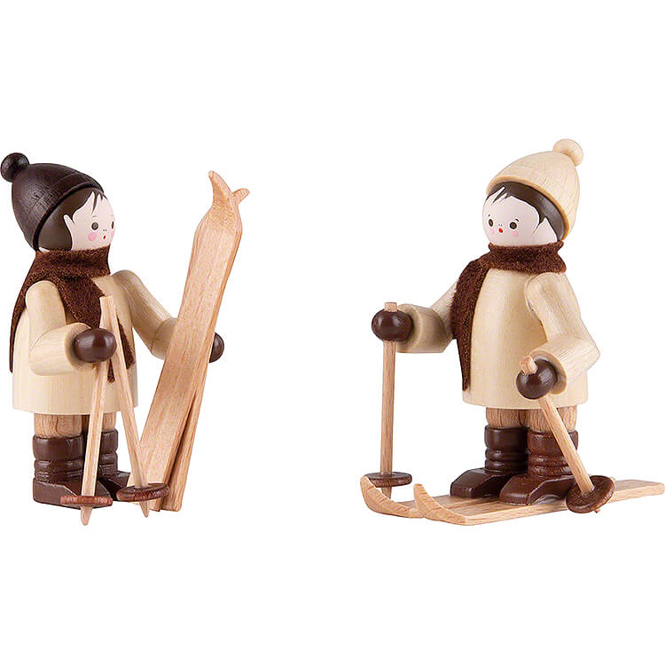 Thiel Figurine  -  Children with Ski  -  natural  -  Set of Two  -  5,5cm / 2.2 inch