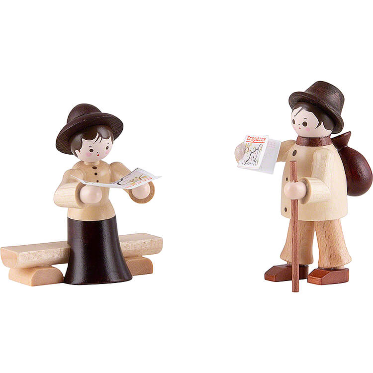 Thiel Figurine  -  Hiker Couple  -  natural  -  6cm / 2.4 inch