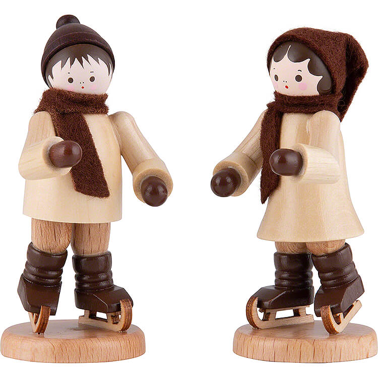 Thiel Figurine  -  Ice Skate Children Couple  -  natural  -  7cm / 2.8 inch