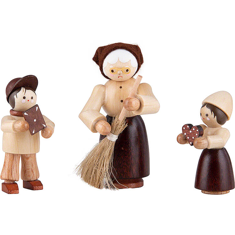 Thiel Figurines  -  Hansel, Gretel and Witch  -  3 pieces  -  natural  -  6cm / 2.4 inch