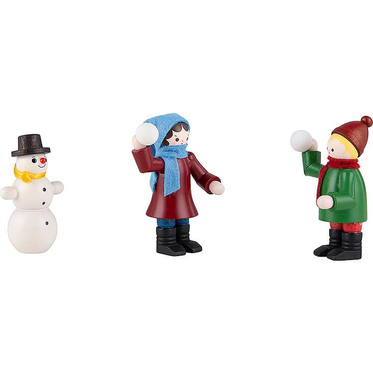 Thiel Figurines  -  Snowball Thrower  -  3 pieces  -  coloured  -  5,5cm / 2.2 inch