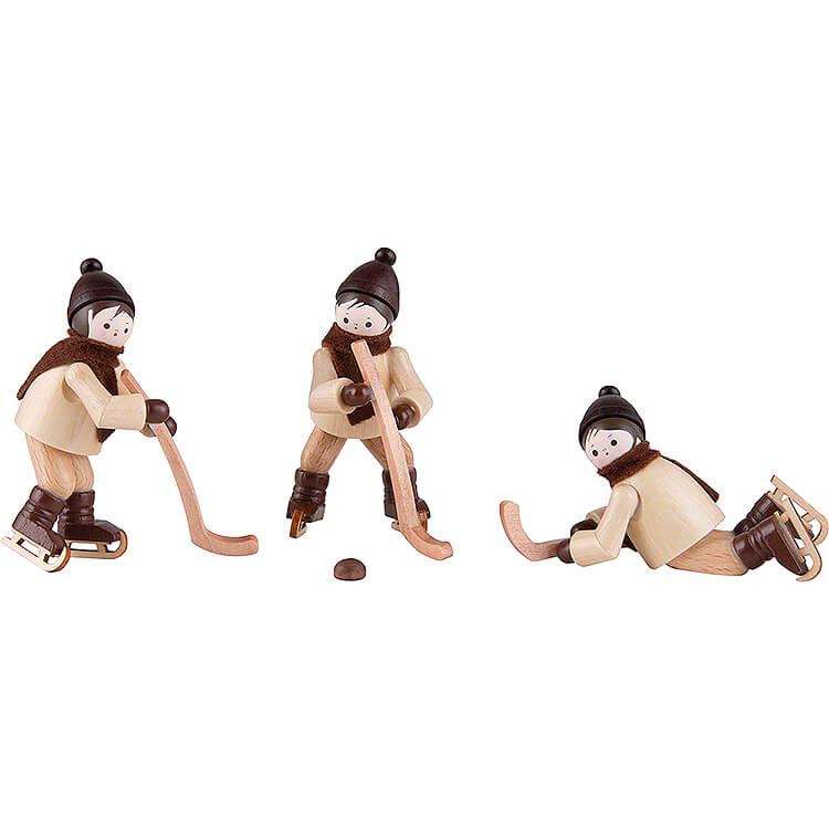 Thiel Figurines  -  Winter Children Ice Hockey  -  3 pieces  -  natural  -  6,5cm / 2.6 inch