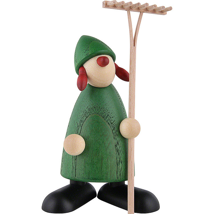 Well - Wisher Hanna with Rake, Green  -  9cm / 3.5 inch