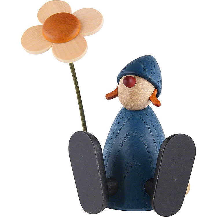 Well - Wisher Lotta with Flower Sitting, Blue  -  9cm / 3.5 inch