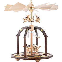 1 - Tier Pyramid  -  Seven Angels and Glass Bells  -  38x28cm / 15x11 inch