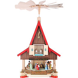 2 - Tier Adventhouse  -  Nativity Scene  -  53cm / 21 inch