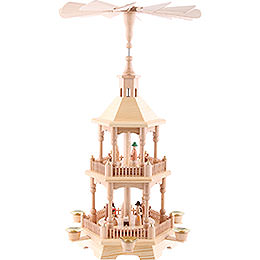 2 - Tier Pyramid  -  Nativity, Natural with Light Roof 52cm / 20.5 inch