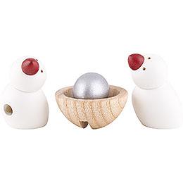 2 Vögel und Nest mit Ei  -  3cm