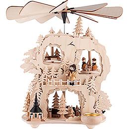3 - Tier Cogwheel Pyramid  - Seiffen Village  -  35cm / 13.8 inch