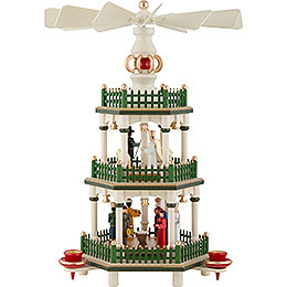 3 - Tier Pyramid  -  Nativity  -  Historic Colors White/Green  -  35cm / 14 inch