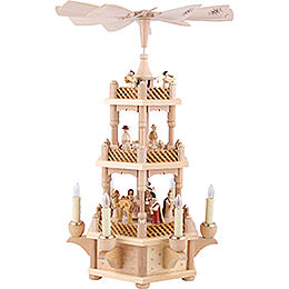 3 - Tier Pyramid  -  Nativity Scene Natural Wood  -  45cm / 18 inch